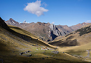 Quartelhuan/Cuartelhuan. Day 1 of 9 days trekking around the Cordillera Huayhuash, Andes Mountains, Peru, South America.