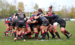 Bristol Ladies power their way towards the line to score a try against Saracens Women - Mandatory by-line: Paul Knight/JMP - 30/10/2016 - RUGBY - Cleve RFC - Bristol, England - Bristol Ladies v Saracens Women - RFU Women's Premiership