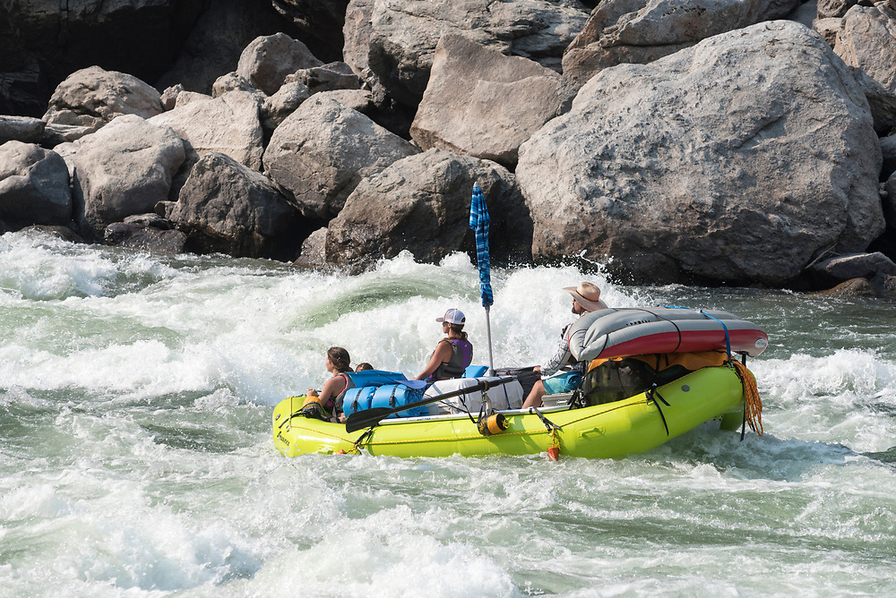 Rafting down Snow Hole Rapids on Idaho's lower Salmon River.