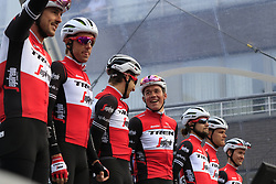 Trek-Segafredo on stage at sign on before the 2019 Gent-Wevelgem in Flanders Fields running 252km from Deinze to Wevelgem, Belgium. 31st March 2019.<br /> Picture: Eoin Clarke | Cyclefile<br /> <br /> All photos usage must carry mandatory copyright credit (© Cyclefile | Eoin Clarke)