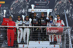 May 6, 2018 - Brands Hatch, Grande Bretagne - 39 TP 12 KESSEL RACING (THA) FERRARI 488 GT3 PITI BHIROMBHAKDI (THA) CARLO VAN DAM (NDL) WINNERS OF RACE 1 IN PRO AM #32 TEAM PARKER RACING (GBR) BENTLEY CONTINENTAL GT3 IAN LOGGIE (GBR) CALLUN MACLEOD (GBR) SECOND IN PRO AM #26 SAINTELOC RACING (FRA) AUDI R8 LMS NYLS STIEVENART (FRA) MARKUS WINKELHOCK (DEU) THIRD IN PRO AM (Credit Image: © Panoramic via ZUMA Press)