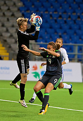 ASTANA, KAZAKHSTAN - Sunday, September 17, 2017: Wales' Kayleigh Green and Kazakhstan's goalkeeper Oksana Zheleznyak during the FIFA Women's World Cup 2019 Qualifying Round Group 1 match between Kazakhstan and Wales at the Astana Arena. (Pic by David Rawcliffe/Propaganda)