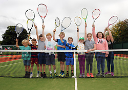 Young members of Westport Tennis Club enjoying the new upgraded courts that were officially opened by Minister of State Michael Ring TD on sunday last.<br />