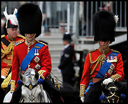 Prince William and Prince Charles on Horse Guards Parade for the Queen's Trooping of the Colour, The Queen's Birthday Parade, Saturday June 16, 2012. Photo by Andrew Parsons/i-Images..All Rights Reserved ©Andrew Parsons/i-Images .See Special Instructions
