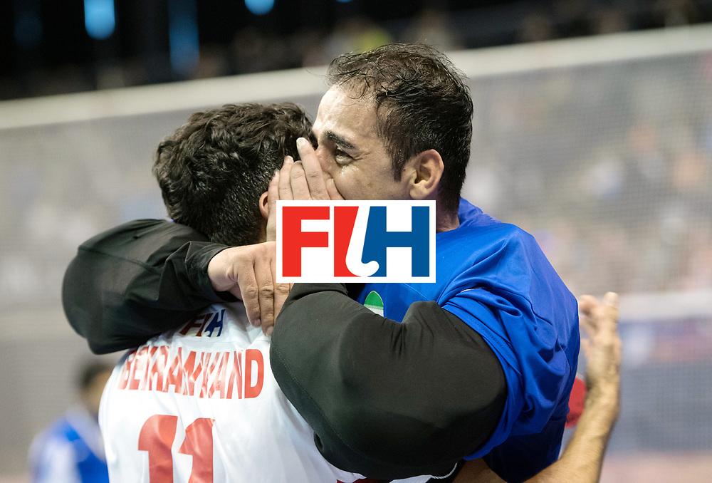 BERLIN - Indoor Hockey World Cup<br /> Bronze: Iran - Australia<br /> foto: Behdad Beiranvand and Sasan Hataminejad (GK)  <br /> WORLDSPORTPICS COPYRIGHT FRANK UIJLENBROEK