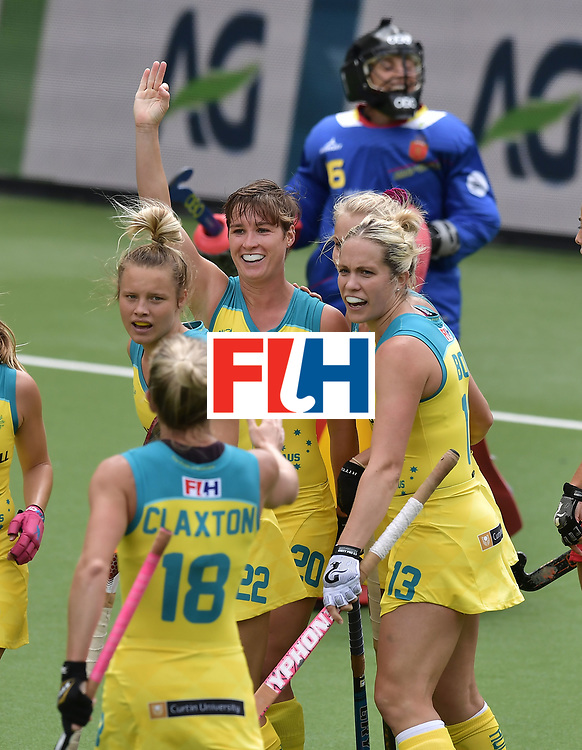 BRUSSELS, BELGIUM - JUNE 25: Kathryn Slattery of Australia celebrates after scoring the opening goal during the FINTRO Women's Hockey World League Semi-Final Pool B game between Australia and Spain on June 25, 2017 in Brussels, Belgium. (Photo by Charles McQuillan/Getty Images for FIH)