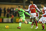 Forest Green Rovers Dayle Grubb(8) brought down by Arsenal's Gedion Zelalem(60) during the EFL Trophy group stage match between Forest Green Rovers and U21 Arsenal at the New Lawn, Forest Green, United Kingdom on 7 November 2018.