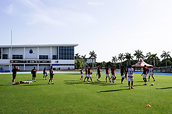 Bristol City warm up during the 2nd leg of the match after the previous day's game was abandoned at half time due to extreme weather - Rogan/JMP - 14/07/2019 - IMG Academy, Bradenton - Florida, USA - Bristol City v Derby County - Pre-Season Tour Day 3.