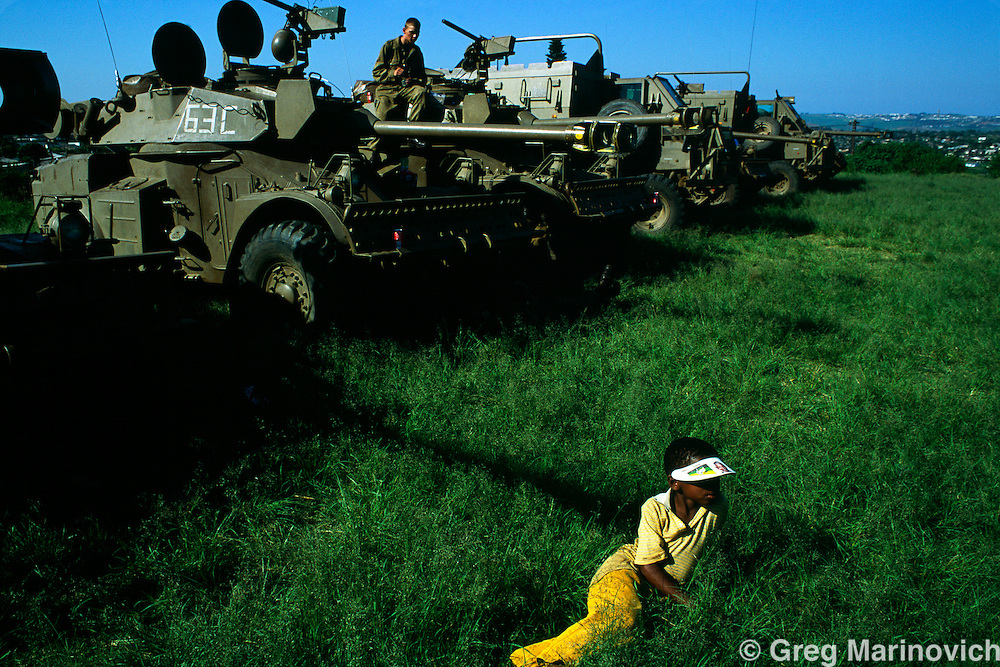 KwaZulu Natal, South Africa, 1994. SADF armoured vehicles in Section A KwaMashu Hostel, an Inkatha stronghold.