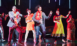 © Licensed to London News Pictures. 30/05/2012. London, England. Tariq Jordan as Kabir and Natasha Jayetileke as Sita dancing at front. Premiere of the Musical Wah! Wah! Girls at the Peacock Theatre in a Sadler?s Wells, Theatre Royal Stratford East and Kneehigh Production where East London meets Bollywood.  Written by Tanika Gupta, directed by Emma Rice with choreography by Javed Sanadi and leading Kathak choreographer Gauri Sharma Tripath. iWah! Wah! Girls is part of World Stages London, a two month celebration of London?s diversity through a series of exceptional shows created by leading UK and international artists.  Photo credit: Bettina Strenske/LNP