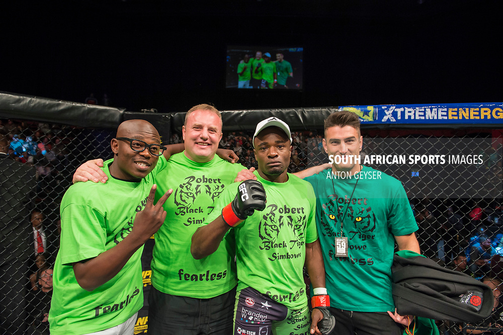 JOHANNESBURG, SOUTH AFRICA - MAY 13: Rob Simbowe celebrates after defeating Anicet Kanyeba during EFC 59 Fight Night at Carnival City on May 13, 2017 in Johannesburg, South Africa. (Photo by Anton Geyser/EFC Worldwide/Gallo Images)