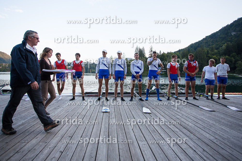 Medal ceremony in category M4x (Coxed four) during rowing at Slovenian National Championship and farewell of Iztok Cop, on September 22, 2012 at Lake Bled, Ljubljana Slovenia. (Photo By Matic Klansek Velej / Sportida)