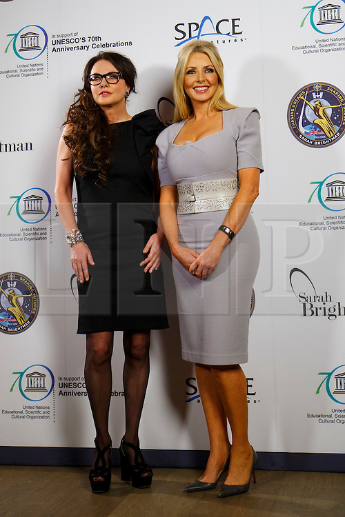 © Licensed to London News Pictures. 10/03/2015. LONDON, UK. Sarah Brightman and Carol Vorderman posing at Ham Yard Hotel in London after a news conference on her plan to travel as a space tourist to the International Space Station for 10 days for £35m. Photo credit : Tolga Akmen/LNP