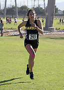 Brenda Rosales-Coria of Harbor wins the women's race in 17:15.1 during the Southern California Community College cross country finals in Cerritos, Calif., Friday, Nov. 2, 2018. (Kirby Lee via AP)