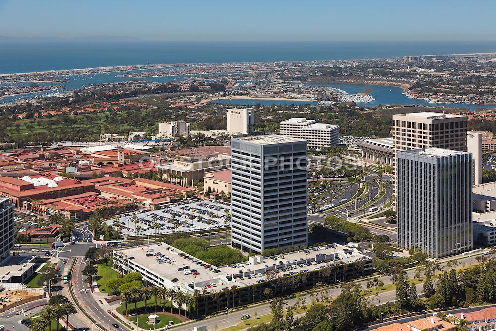 Fashion Island Newport Beach California Aerial Stock Photo