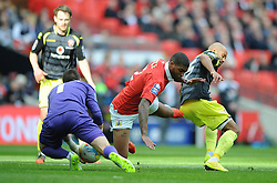 Bristol City's Mark Little challenges for the ball with Walsall's James Chambers and Walsall's Richard O'Donnell - Photo mandatory by-line: Dougie Allward/JMP - Mobile: 07966 386802 - 22/03/2015 - SPORT - Football - London - Wembley Stadium - Bristol City v Walsall - Johnstone Paint Trophy Final