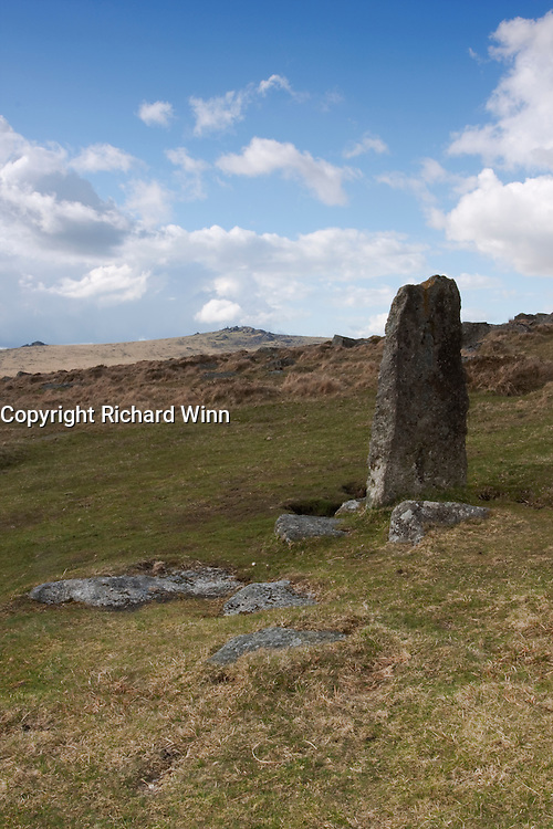 Roos Tor in the background, with a standing stone in the forground.