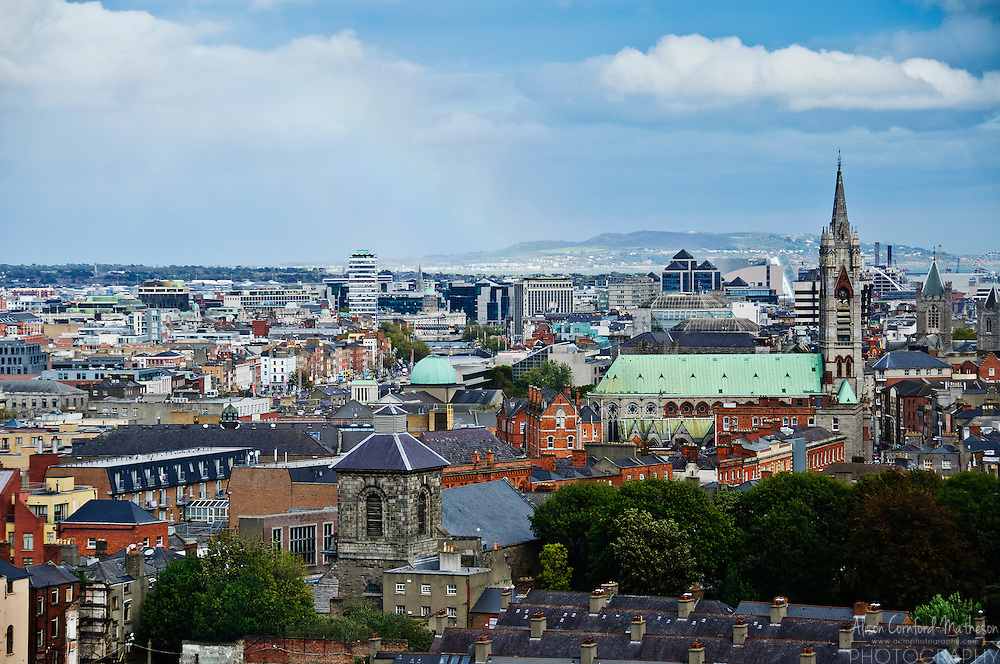 The skyline of Dublin, Ireland can be viewed from the Gravity Bar at the Guinness Storehouse.