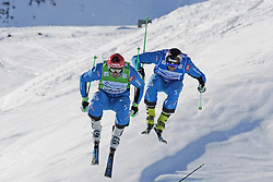 07.03.2014, Carmenna Extrempark, Arosa, SUI, FIS Weltcup Ski Cross, Arosa, im Bild Die Semi-Finallisten Andreas Matt (AUT, G) Patrick Koller (AUT, B) beim Zielsprung // during the FIS Ski Cross World Cup Carmenna Extrempark in Arosa, Switzerland on 2014/03/07. EXPA Pictures © 2014, PhotoCredit: EXPA/ Freshfocus/ Claudia Minder<br /> <br /> *****ATTENTION - for AUT, SLO, CRO, SRB, BIH, MAZ only*****
