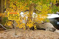 Danger Sign at Lake Sabrina Spillway, Inyo National Forest, California