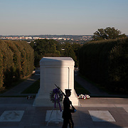 The Tomb of the Unknown Soldier in Arlington Cemetery is in dedication to the services of an unidentified soldier, Marine, airman or sailor and to the common memories of all soldiers. The memorial is guarded 24 hours a day, 365 days a year,  in any weather by Tomb Guard sentinels. <br />