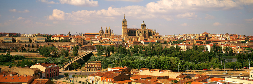 SPAIN, CASTILE AND LEON, SALAMANCA skyline of the city across the Tormes River