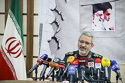November 18, 2018 - Tehran, Iran - Brigadier General Gholam-Hossein Gheybparvar, the head of Iran's Basij Organisation, speaks during a press conference in Tehran, Iran. on November 18, 2018. (Credit Image: © Rouzbeh Fouladi/NurPhoto via ZUMA Press)