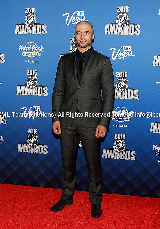2016 June 22: Calgary Flames captain Mark GiorDano poses for a photograph on the red carpet during the 2016 NHL Awards at the Hard Rock Hotel and Casino in Las Vegas, Nevada. (Photo by Marc Sanchez/Icon Sportswire)