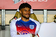 England defender Tyrone Mings on the bench for the UEFA European 2020 Qualifier match between Czech Republic and England at Sinobo Stadium, Prague, Czech Republic on 11 October 2019.