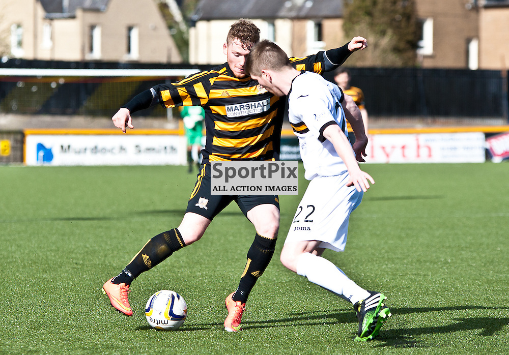 Alloa Athletic v Dumbarton; Scottish Championship; 11 April 2015; Alloa Athletic's Michael Doyle is challenged by Dumbarton's Mark Wilson during the Alloa Athletic v Dumbarton Scottish Championship match played at Indodrill Stadium; © Chris Johnston | SportPix.org.uk