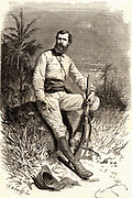 Verney Lovett Cameron (1844-1894) English explorer in Central Africa. Born at Radipole near Weymouth, Dorset. Engraving after a photograph published in 1877 the year Cameron's travels were published under the title of 'Across Africa'.  From 'Le Voleur' (Paris, 2 March 1877). Engraving.