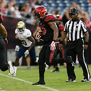 02 September 2017: San Diego State Aztecs running back Rashaad Penny #20 rushes the ball for a touchdown in the second quarter. The Aztecs lead the Aggies 24-3 at the half at Qualcomm Stadium in San Diego, California. <br /> www.sdsuaztecphotos.com
