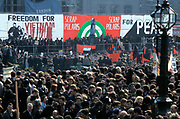 A crowd of people at a CND anti war, peace demonstration, Trafalgar Square, London UK 1970
