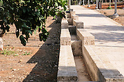 Reconstruction of an ancient flood irrigation technique. Water from the well or water hole was pumped into simple aqueducts to flow to the area that required irrigation