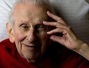 Prize-winning author and radio personality Studs Terkel at his home in Chicago.