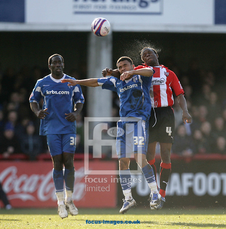 London - Saturday, March 28th, 2009: Marcus Bean (R) of Brentford and Andy Barcham of Gillingham during the Coca Cola League Two match at Griffin Park, London. (Pic by Mark Chapman/Focus Images)