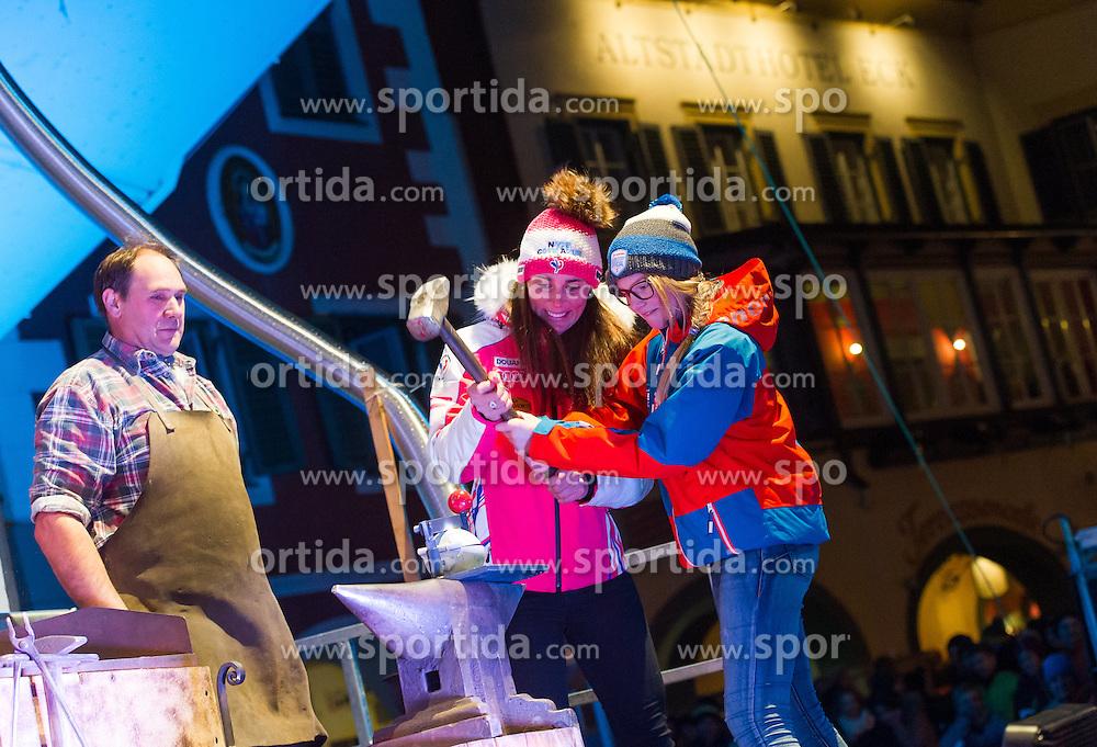 28.12.2015, Hauptplatz, Lienz, AUT, FIS Ski Weltcup, Lienz, Siegerehrung Riesenslalom und Startnummernauslosung Slalom, im Bild Nastasia Noens (FRA) // Nastasia Noens of France during winning ceremony of ladies Giant Slalom and BIP number draw of the slalom of the Lienz FIS Ski Alpine World Cup at the Hauptplatz in Lienz, Austria on 2015/12/28. EXPA Pictures © 2015, PhotoCredit: EXPA/ Michael Gruber
