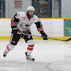 TRENTON, ON - Nov 24 : Ontario Junior Hockey League Game Action between Trenton Golden Hawks and Georgetown Raiders, Tyler MacPherson #3 of the Georgetown Raiders Hockey Club<br /> (Photo by Amy Deroche / OJHL Images)