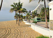 USA: Florida: Broward County: Fort Lauderdale: The public beach at Alhambra Street, just north of Las Olas in Fort Lauderdale, is known for clean sand and picuresque palm trees, and is easy walking distance to numerous restuarants, shops and hotels.