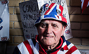 UNITED KINGDOM, London: 30 April 2015, British Royal supporter Terry Hutt from Westen-Super-Mare who turns 80 today poses for his portrait out side the Lindo Wing of St Mary's Hospital where he has been staying for the past 10 days in the hope of seeing HRH Catherine, Duchess of Cambridge after she has give birth to her second child in London, England. Andrew Cowie / Story Picture Agency