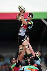Sam Twomey of Harlequins rises high to win lineout ball - Photo mandatory by-line: Patrick Khachfe/JMP - Mobile: 07966 386802 31/01/2015 - SPORT - RUGBY UNION - London - The Twickenham Stoop - Harlequins v Bath Rugby - LV= Cup