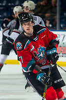 KELOWNA, BC - DECEMBER 18: Conner McDonald #7 warms up on the ice for his first home game as a Kelowna Rocket against the Vancouver Giants at Prospera Place on December 18, 2019 in Kelowna, Canada. (Photo by Marissa Baecker/Shoot the Breeze)
