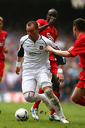 CARDIFF, WALES - SATURDAY, MAY 13th, 2006: West Ham United's Dean Ashton in action against Liverpool during the FA Cup Final at the Millennium Stadium. (Pic by David Rawcliffe/Propaganda)