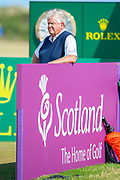 Colin Montgomery waits on the 11th tee during round 3 of the Seniors Open St Andrews, West Sands, Scotland on 28 July 2018. Picture by Malcolm Mackenzie.