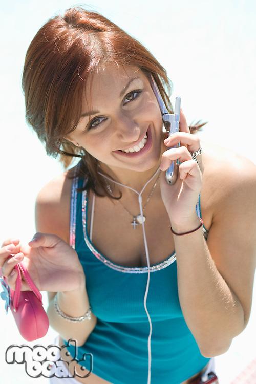 Portrait of Teenage Girl Talking on Mobile