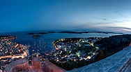 Hvar Town, the Paklinski islands and, on the horizon, Vis Island make a stunning evening view from the fortress above the town.