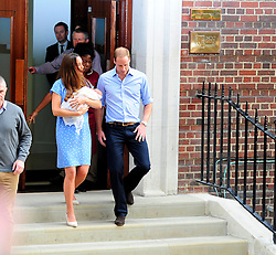 The Duke and Duchess of Cambridge leavng St. Mary's Hospital with their son George Alexander Louis, the 3rd in line to the British throne. London, UK. 23/07/2013<br />
