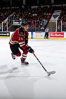 KELOWNA, BC - FEBRUARY 15: Ben King #14 of the Red Deer Rebels skates with the puck against the Kelowna Rockets at Prospera Place on February 15, 2020 in Kelowna, Canada. (Photo by Marissa Baecker/Shoot the Breeze)