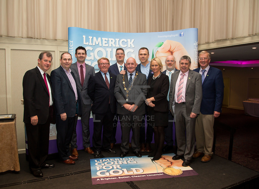 11.10.2016         <br /> The West of Limerick is awake and celebrating after Glin was announced as overall winner of Limerick Going for Gold 2016.<br /> Pictured are Going For Gold sponsors, left to right, JP McManus, JP McManus Charitable Foundation, Joe Nash, Live 95FM, Joe Cleary, Mr. Binman, Dave O'Hora, Southern Marketing Media Design, David Hurley, Limerick Leader, Mayor, Cllr. Kieran O'Hanlon, Richard Lynch, ILove Limerick, Geraldine O'Regan, Live 95FM, Roger Beck, Parkway Shopping Centre, Fergal Deegan, Live 95 FM and Noel Earlie, JP McManus Charitable Foundation. Picture: Alan Place