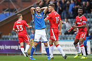 Bradden Inman reacts to missing a chance during the EFL Sky Bet League 1 match between Rochdale and Gillingham at Spotland, Rochdale, England on 23 September 2017. Photo by Daniel Youngs.